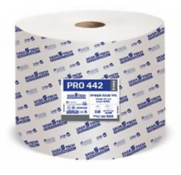 גליל מגבת תעשייתי PRO 442 PURE- נייר איכותי חד שכבתי 100% תאית