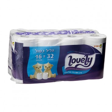 Lovely טואלט 16 גלילים כפולים- נייר טואלט דו שכבתי רך במיוחד