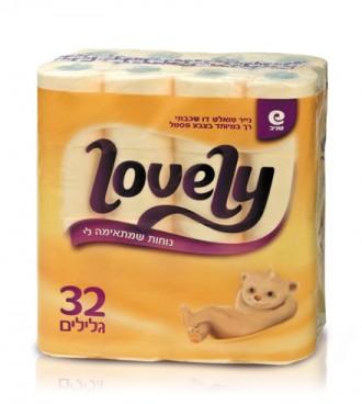 Lovely 32 חמאה- נייר טואלט דו שכבתי רך במיוחד, בצבע חמאה