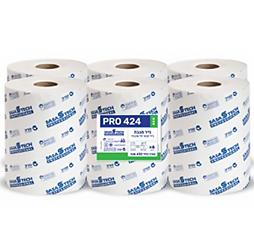 מגבות נייר בגליל PRO 424 ECO- נייר טבעי חד שכבתי כולל פרפורציה 6 גלילים