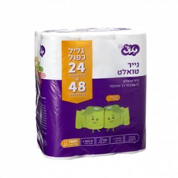 טואלט טאצ' 24 גלילים כפולים- נייר טואלט דו שכבתי כפול איכותי וידידותי לסביבה
